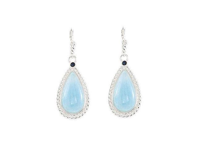 Sterling Silver Genuine Aquamarine  Blue Sapphire Earrings - Pair 21.00 X 11.00 MM