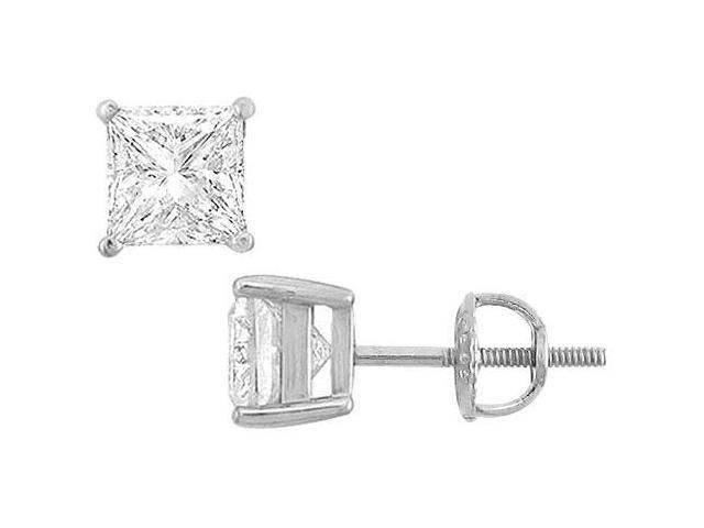 14K White Gold  Princess Cubic Zirconia Stud Earrings  6.00 CT. TGW.