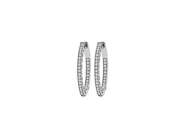 CZ 23mm Milgrain Round Inside Out Hoop Earrings in White Rhodium Over Sterling Silver