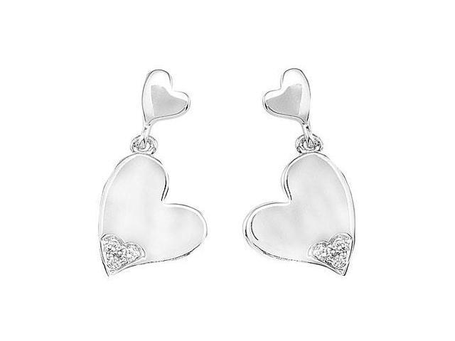 Diamond Double Heart Earrings  .925 Sterling Silver - Pair 0.04 CT Diamonds