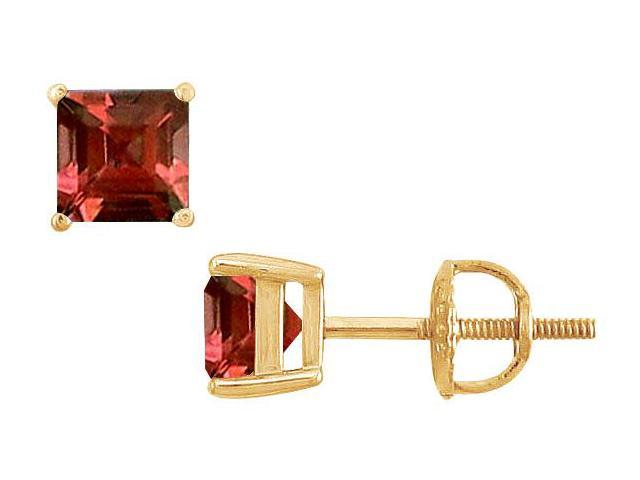 Garnet Stud Earrings  14K Yellow Gold - 2.00 CT TGW