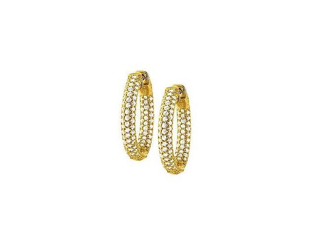 Pave Cubic Zirconia 25mm Round Inside Out Hoop Earrings in Yellow Rhodium over Sterling Silver