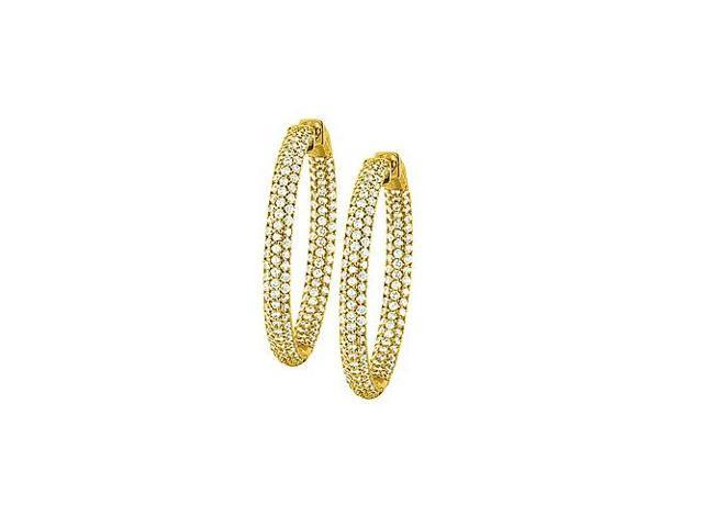 Pave Cubic Zirconia 36mm Round Inside Out Hoop Earrings in Yellow Rhodium over Sterling Silver