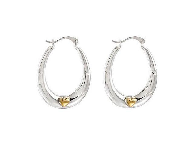 Rhodium Plating .925 Sterling Silver Hoop Earrings with 14K Yellow  Heart Accent Pair 24.5X19 MM