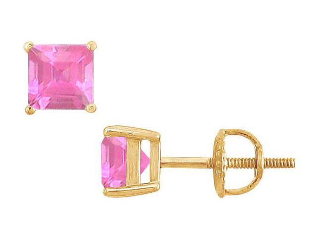 Pink Topaz Stud Earrings  14K Yellow Gold - 2.00 CT TGW