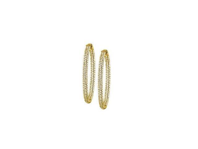 Pave Cubic Zirconia 50mm Round Inside Out Hoop Earrings in Yellow Rhodium over Sterling Silver