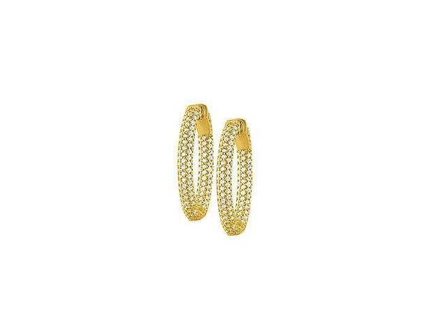 Pave Cubic Zirconia 30mm Oval Inside Out Hoop Earrings in Yellow Rhodium over Sterling Silver