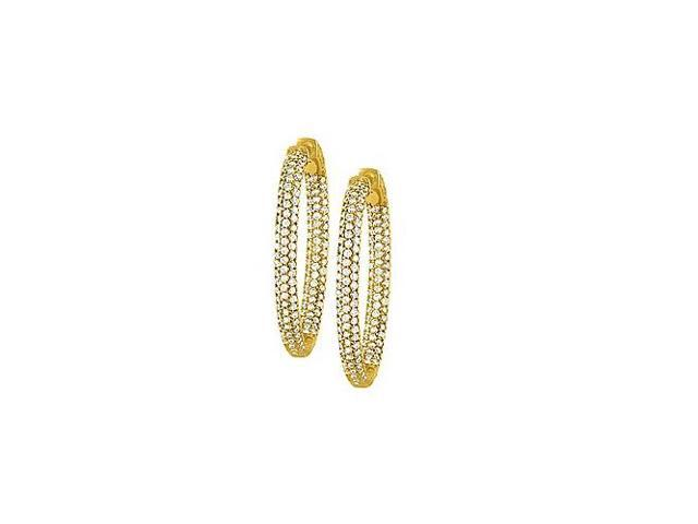 Pave Cubic Zirconia 37mm Oval Inside Out Hoop Earrings in Yellow Rhodium over Sterling Silver