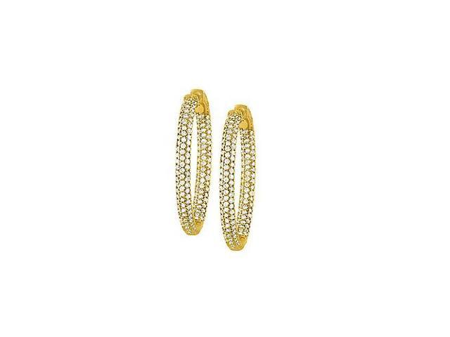 Pave Cubic Zirconia 49mm Oval Inside Out Hoop Earrings in Yellow Rhodium over Sterling Silver