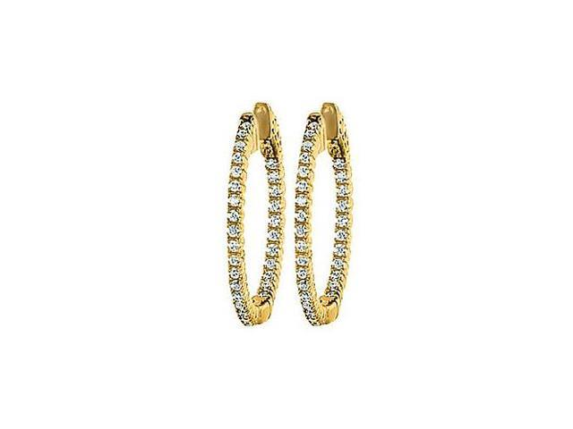 CZ 25mm Round Prong Set .01 Inside Out Hoop Earrings in 14kt Yellow Gold Over Sterling Silver