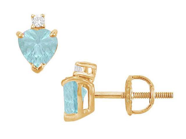 Diamond and Aquamarine Stud Earrings  14K Yellow Gold - 2.04 CT TGW