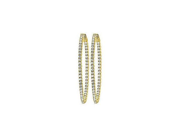 CZ 35mm Round Prong Set .01 Inside Out Hoop Earrings in 14kt Yellow Gold Over Sterling Silver