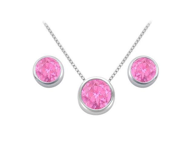 Pink Topaz Pendant and Stud Earrings Set in Sterling Silver 2.00 CT TGW