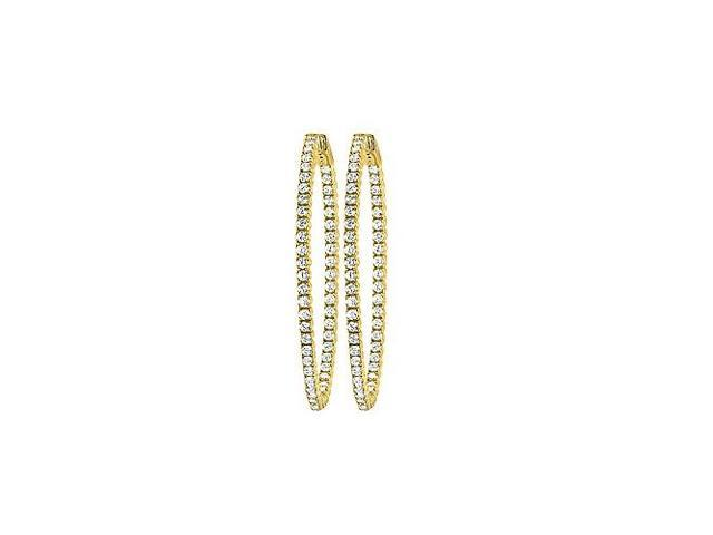 CZ 50mm Round Prong Set .01 Inside Out Hoop Earrings in 14kt Yellow Gold Over Sterling Silver