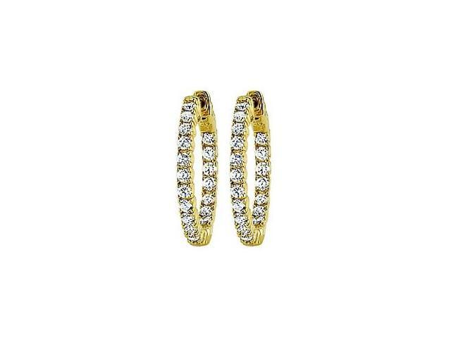 CZ 25mm Round Prong Set .05 Inside Out Hoop Earrings in 14kt Yellow Gold Over Sterling Silver