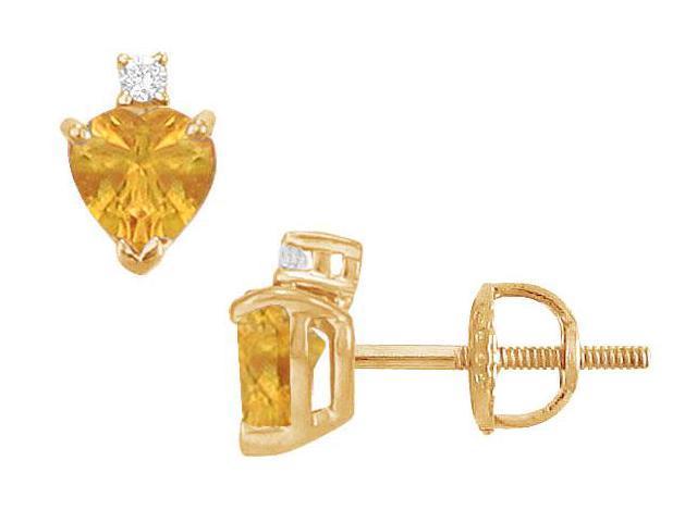 Diamond and Citrine Stud Earrings  14K Yellow Gold - 2.04 CT TGW