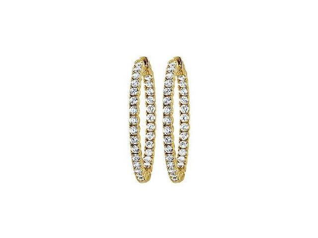CZ 35mm Round Prong Set .05 Inside Out Hoop Earrings in 14kt Yellow Gold Over Sterling Silver