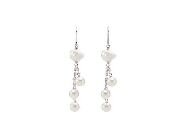 Sterling Silver Freshwater Cultured Pearl Earrings - 07.00-07.50 MM/ 09.00-10.00 MM