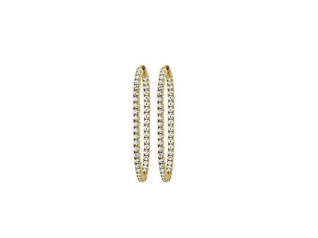 CZ 50mm Round Prong Set .05 Inside Out Hoop Earrings in 14kt Yellow Gold Over Sterling Silver