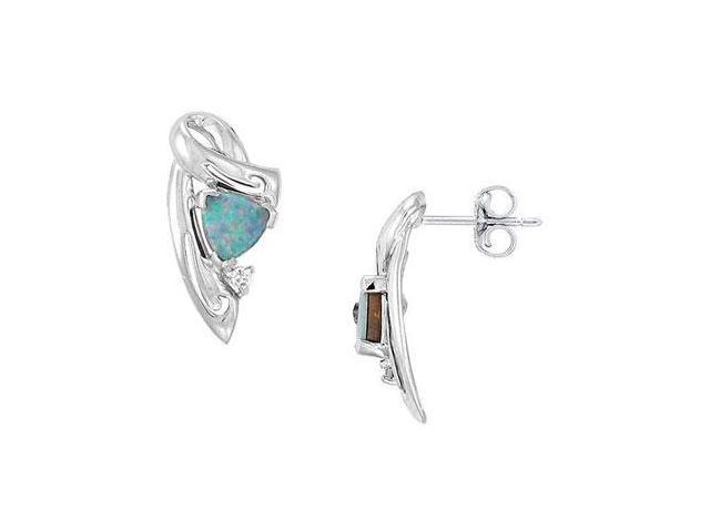 14K White Gold Opal and Diamond Earrings 0.66 CT TGW