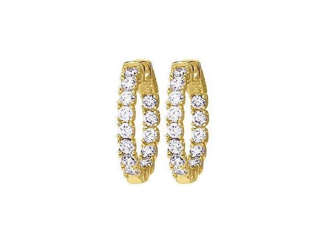 CZ 24mm Round Prong Set .10 Inside Out Hoop Earrings in 14kt Yellow Gold Over Sterling Silver