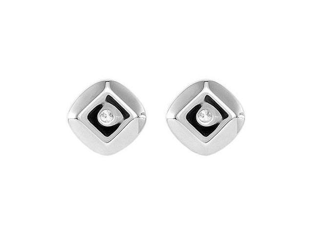 Diamond Earrings  0.925 Sterling Silver - .015 CT TW