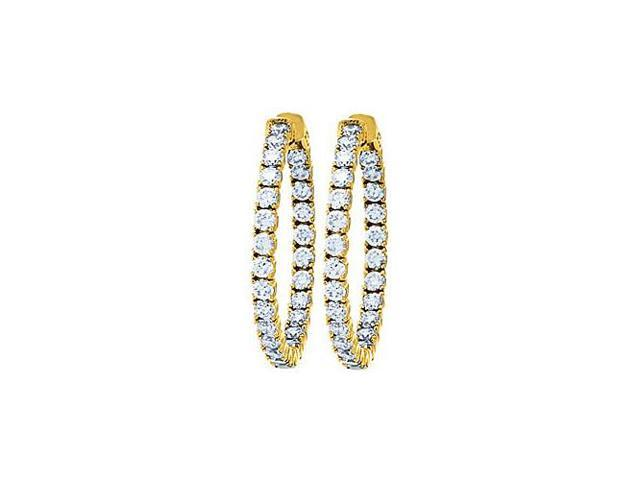 CZ 35mm Round Prong Set .10 Inside Out Hoop Earrings in 14kt Yellow Gold Over Sterling Silver