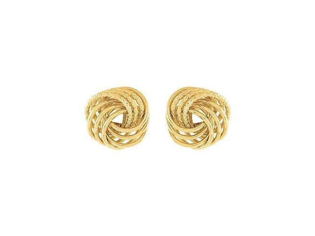 14K Yellow Gold Vermeil Clad .925 Sterling Silver Knot Earrings Pair 16.50 X 17.00 MM
