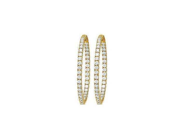 CZ 49mm Round Prong Set .10 Inside Out Hoop Earrings in 14kt Yellow Gold Over Sterling Silver