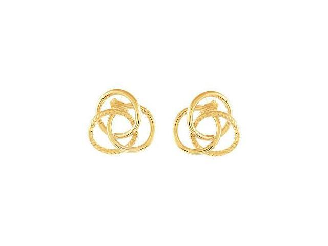 14K Yellow Gold Vermeil Clad Sterling Silver Knot Earrings Pair 19.50 X 20.75 MM