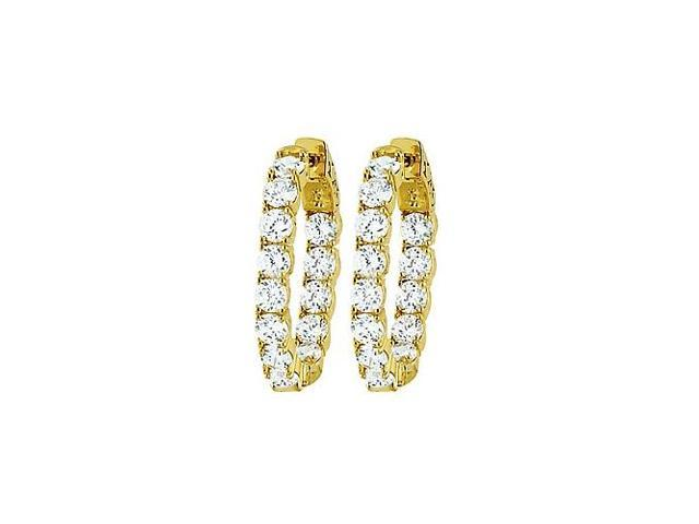 CZ 30mm Round Prong.15 Inside Out Hoop Earrings in Yellow Rhodium over Sterling Silver
