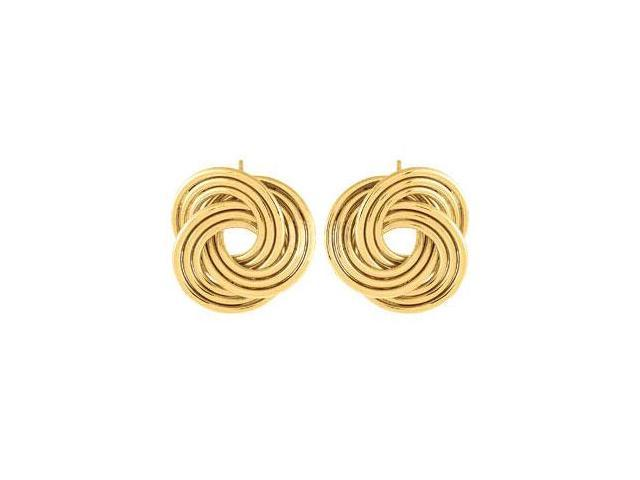 14K Gold Vermeil Clad Sterling Silver Knot Earrings  Pair 19.25X19.00 MM