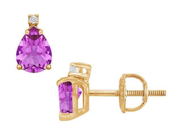 Diamond and Amethyst Stud Earrings  14K Yellow Gold - 2.04 CT TGW