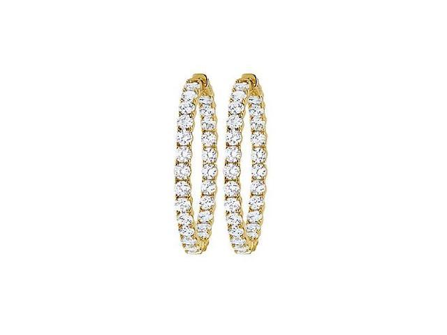 CZ 39mm Round Prong.15 Inside Out Hoop Earrings in Yellow Rhodium over Sterling Silver