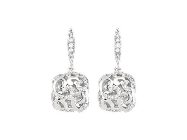 Cubic Zirconia Earrings in Rhodium Plating .925 Sterling Silver Push Back Findings