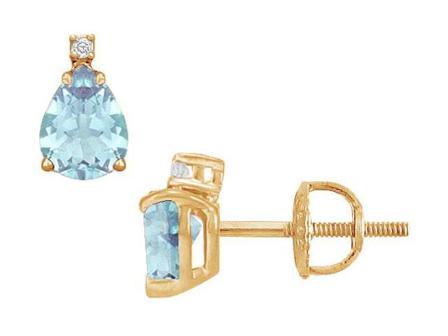 Diamond and Aquamarine Stud Earrings  14K Yellow Gold - 2.04 CT TGW
