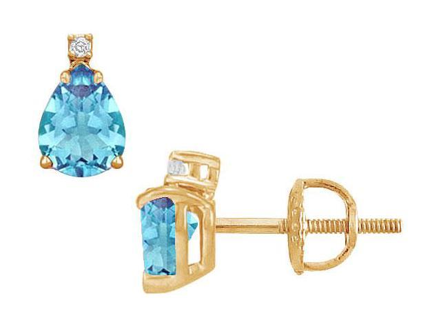 Diamond and Blue Topaz Stud Earrings  14K Yellow Gold - 2.04 CT TGW