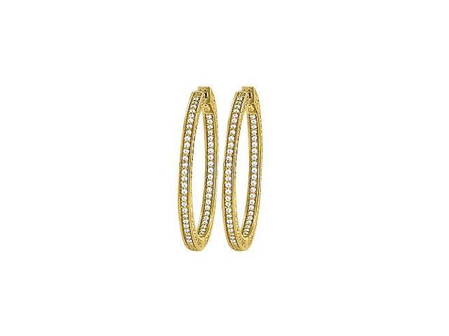 CZ 36mm 3 Sided Inside Out Hoop Earrings in Yellow Rhodium over Sterling Silver