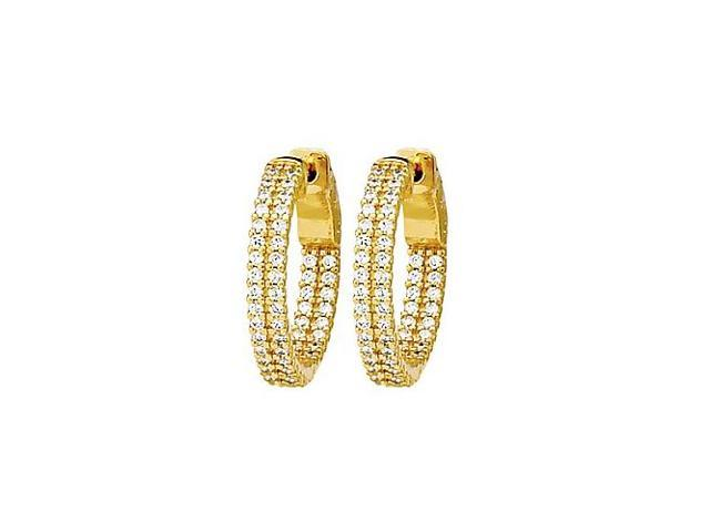 CZ 21mm 2 Sided Inside Out Hoop Earrings in Yellow Rhodium over Sterling Silver