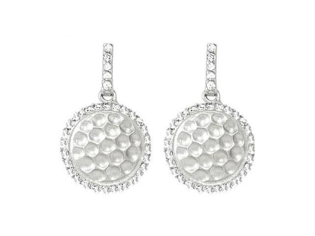 Cubic Zirconia and Rhodium Plating .925 Sterling Silver Push Back Earrings