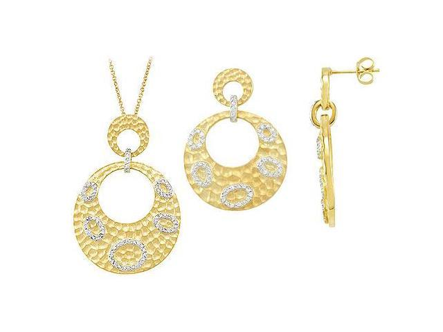 14K Yellow Gold Plated Sterling Silver with Cubic Zirconia Earrings and Pendant sets