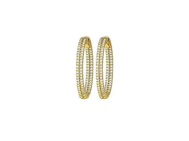 CZ 31mm 2 Sided Inside Out Hoop Earrings in Yellow Rhodium over Sterling Silver