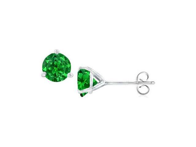 14K White Gold Martini Style Frosted Emerald Stud Earrings with 1.00 CT TGW