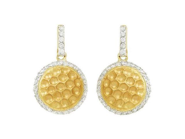 Cubic Zirconia 14K Yellow Gold Vermeil in Sterling Silver Push Back Earrings