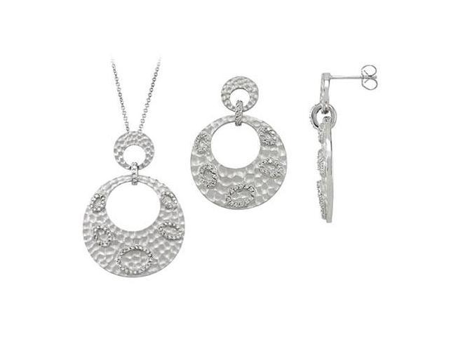 Sterling Silver Rhodium Plated with Cubic Zirconia  Earrings and Pendant Sets