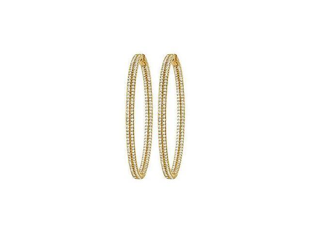 CZ 54mm 2 Sided Inside Out Hoop Earrings in Yellow Rhodium over Sterling Silver