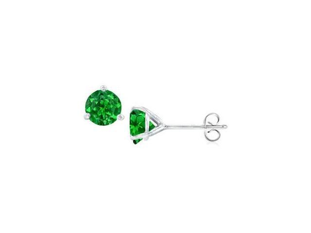 14K White Gold Martini Style Frosted Emerald Stud Earrings with 2.00 CT TGW