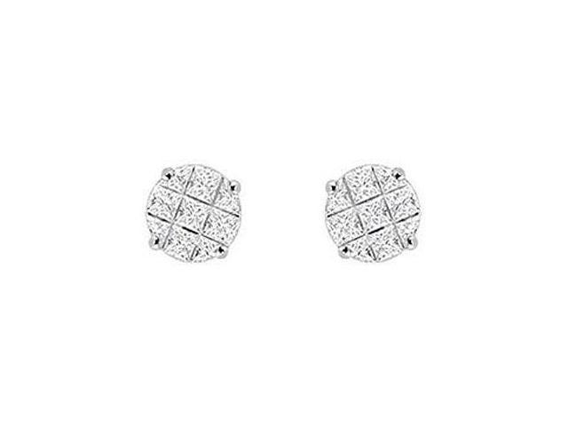 Cubic Zirconia 9 Cut Design Earrings  .925 Sterling Silver - 5 MM