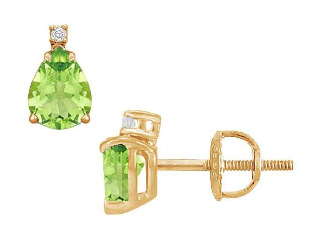 Diamond and Peridot Stud Earrings  14K Yellow Gold - 2.04 CT TGW