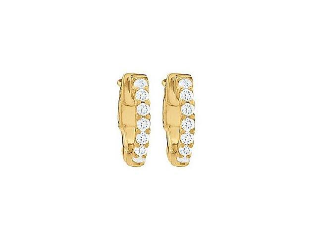 CZ 1 Row Petite Vault Lock Hoop Earrings in 14kt Yellow Gold Over Sterling Silver
